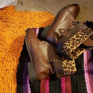 Torrid-Brown leather Leopard back zipper bootie